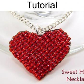 Beading Tutorial Pattern Necklace Pendant - Valentines Heart Jewelry - Square Stitch - Simple Bead Patterns - Sweet Heart Necklace #4568