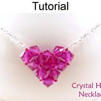 Beading Tutorial Pattern Necklace - Valentines Heart Necklace - Simple Bead Patterns - Crystal Heart Necklace #4655