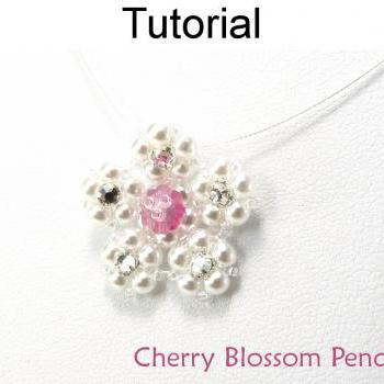 Beading Tutorial Pattern Necklace - Spring Flower Jewelry - Simple Bead Patterns - Cherry Blossom Necklace #5225