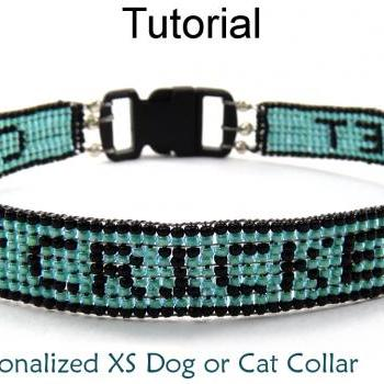 Beading Tutorial Pattern Dog Cat Collar - Beaded Pet Name - Simple Bead Patterns - Personalized XS Dog Cat Collar #6532