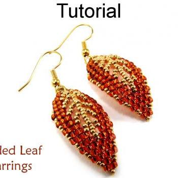 Beading Tutorial Pattern Earrings - Diagonal Peyote Stitch - Simple Bead Patterns - Gilded Leaf Earrings #9523