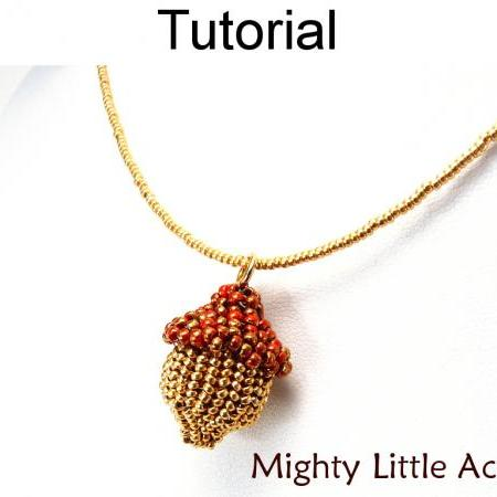 Beading Tutorial Pattern Earrings Necklace - Autumn Fall Nature Jewelry - Simple Bead Patterns - Mighty Little Acorns #10327