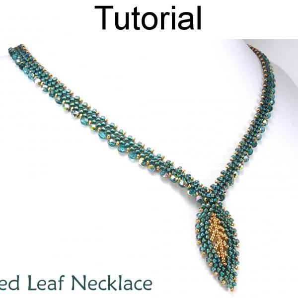 Beading Tutorial Pattern Necklace - Diagonal Peyote Stitch - Simple Bead Patterns - Gilded Leaf Necklace #9713