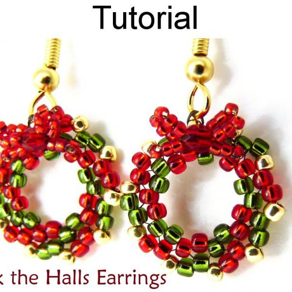 Beading Tutorial Pattern Earrings - Christmas Holiday Wreath Circular Peyote Stitch - Simple Bead Patterns - Deck the Halls Earrings #10528
