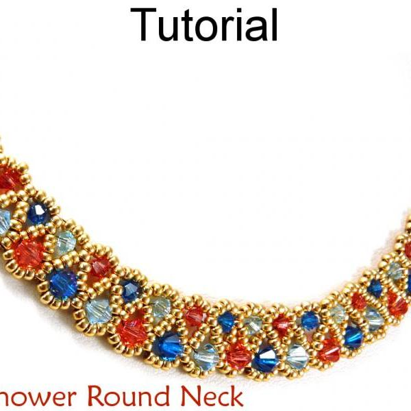 Beading Tutorial Pattern Necklace - Crystal Beadweaving Jewelry - Simple Bead Patterns - Sunshower Round Neck #11708