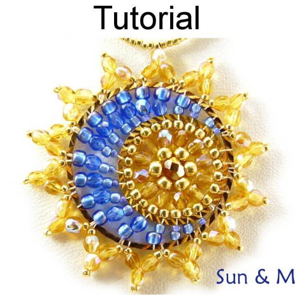 Beading Tutorial Pattern Necklace Pendant - Celestial Sun Moon Necklace Pendant - Simple Bead Patterns - Sun and Moon #11778
