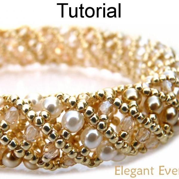 Beading Tutorial Pattern Bracelet Necklace - Tubular Netted Stitch - Simple Bead Patterns - Elegant Evening #668