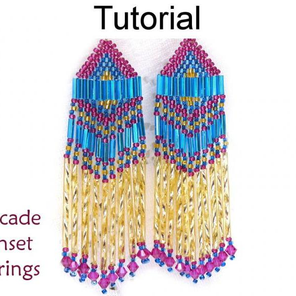 Beading Tutorial Pattern Earrings - Brick Stitch - Simple Bead Patterns - Cascade Sunset Earrings #1672