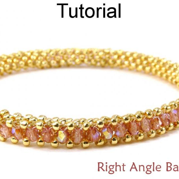 Beading Tutorial Pattern Bracelet - Tubular Right Angle Weave RAW - Simple Bead Patterns - Right Angle Bangle #9346