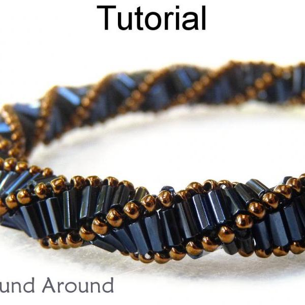 Beading Pattern Tutorial Bracelet Necklace - Triple Helix Stitch - Simple Bead Patterns - Wound Around #1888