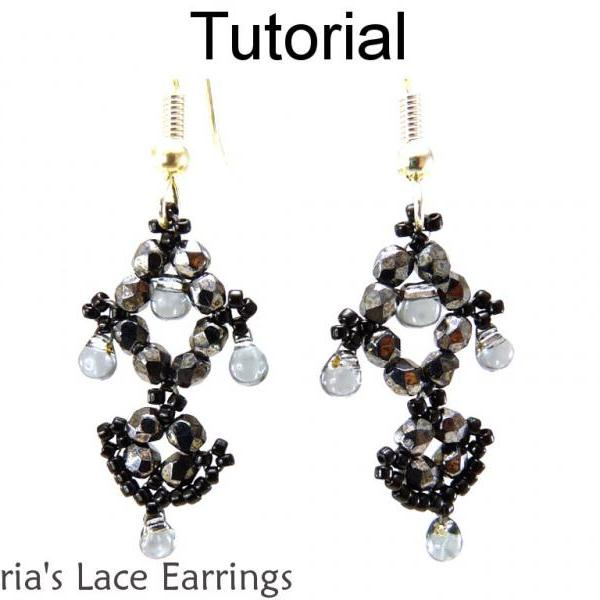 Beading Tutorial Pattern Earrings - Beadwoven Jewelry Making Instructions - Simple Bead Patterns - Victoria's Lace Earrings #11297