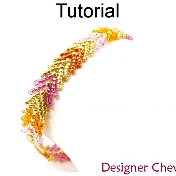 Beading Tutorial Pattern Bracelet - St. Petersburg Stitch - Simple Bead Patterns - Designer Chevron #11478