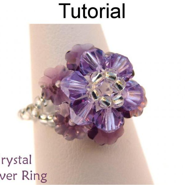 Beading Pattern Tutorial Ring - Beadweaving - Simple Bead Patterns - Crystal Flower Ring #1910