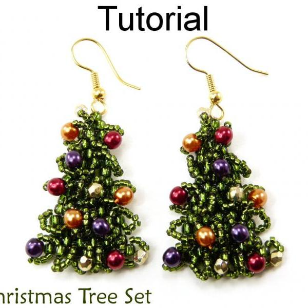 Beading Tutorial Pattern Earrings Necklace - Christmas Tree Holiday Jewelry - Simple Bead Patterns - O Christmas Tree #10870