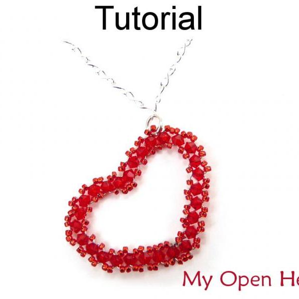 Beading Tutorial Pattern Instructions Necklace - Wireworking Beaded Heart Pendant - Simple Bead Patterns - My Open Heart #3770