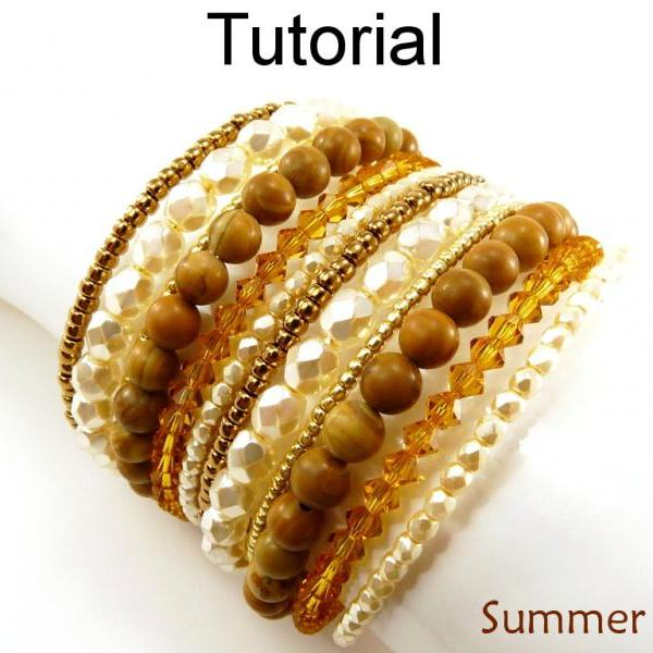 Beading Tutorial Pattern - Beaded Cuff Bracelet - Multi Bracelet - Memory Wire - Summer Cuff #14218