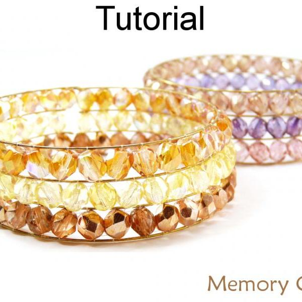 Beading Tutorial Pattern - Beaded Memory Wire Cuff Bracelet - Beadweaving - Wire Working - Simple Bead Patterns - Memory Cuff #14280