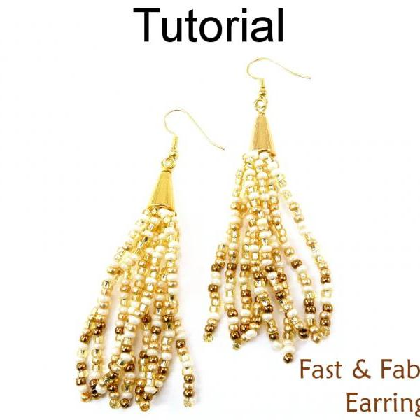 Beading Tutorial Pattern Multi-Strand Gradated Cone Earrings - Stringing - Simple Bead Patterns - Fast & Fabulous Earrings #14600