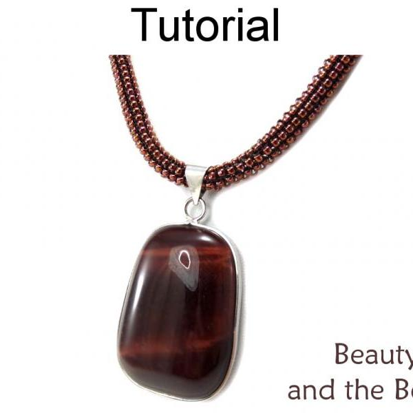 Beading Pattern Tutorial - Tubular Peyote Stitch Necklace - Gemstone Pendant - Simple Bead Patterns - Beauty and the Beads #15287