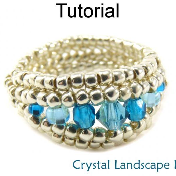Beading Tutorial Ring - Herringbone Stitch - Simple Bead Patterns - Crystal Landscape Ring #15254