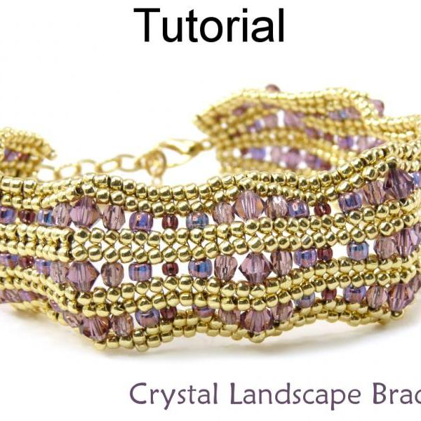 Beading Tutorial Bracelet - Herringbone Stitch - Simple Bead Patterns - Crystal Landscape Bracelet #15253