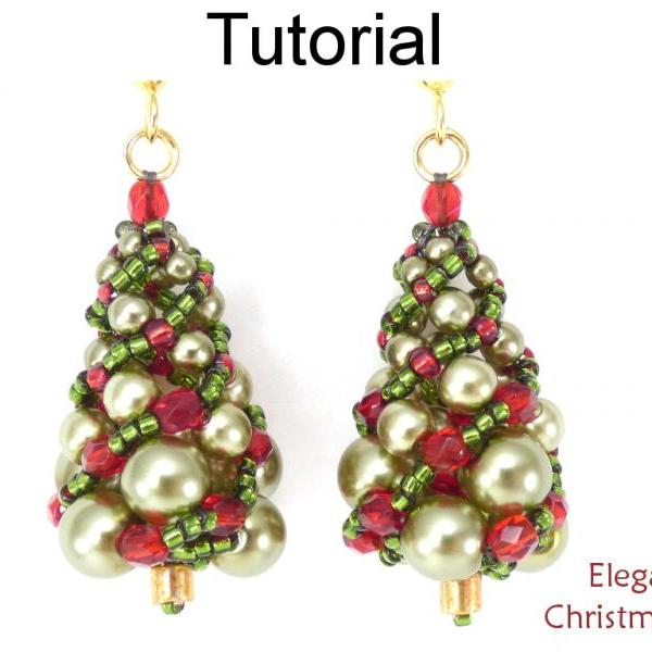 Beading Tutorial Pattern Christmas Holiday Earrings Necklace - Russian Spiral Tree - Simple Bead Patterns - Elegant Christmas Set #17158