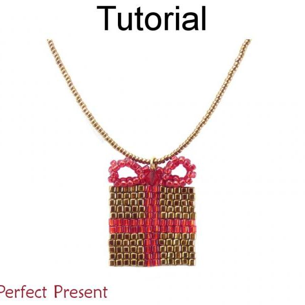 Beading Tutorial Pattern - Christmas Present Necklace Holiday Jewelry - Simple Bead Patterns - The Perfect Present #17302