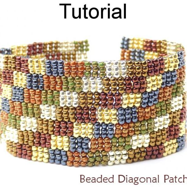 Beading Tutorial Bracelet - 3-Drop Peyote Stitch - Simple Bead Patterns - Beaded Diagonal Patchwork #17642