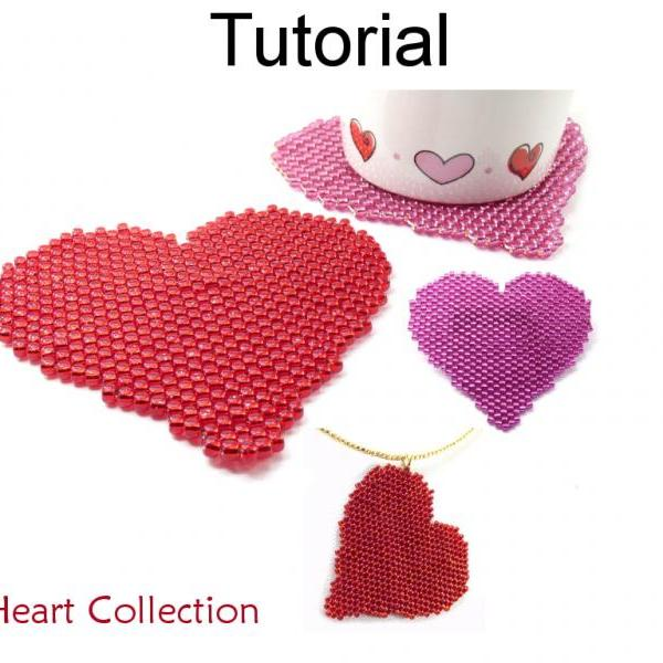 Beading Tutorial Pattern - Valentines Heart Necklace, Brooch, Coasters - Peyote Stitch - Simple Bead Patterns - Big Heart Collection #17792