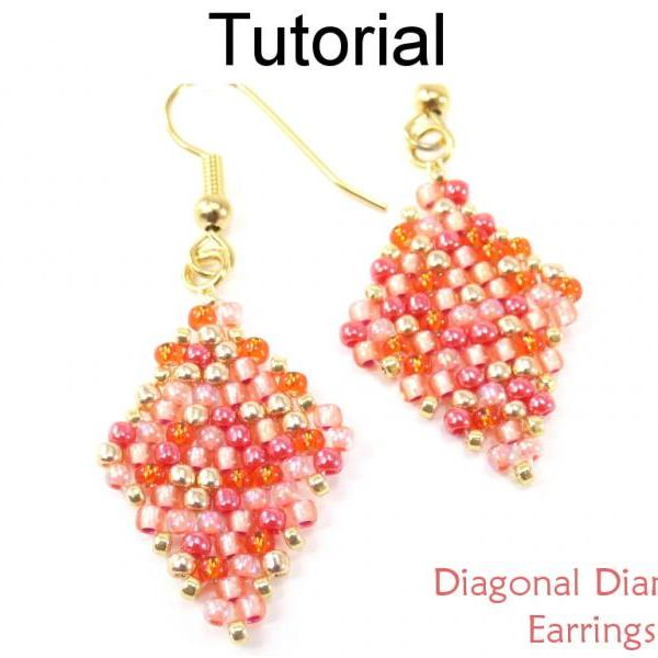 Beading Tutorial Pattern - Beaded Diamond Earrings - Diagonal Peyote Stitch - Simple Bead Patterns - Diagonal Diamond Earrings #19040