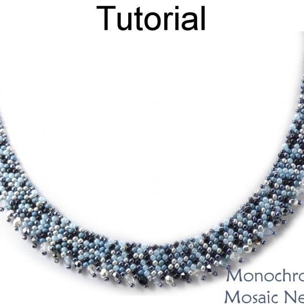 Beading Tutorial Pattern - Diagonal Peyote Stitch - Round Neck - Simple Bead Patterns - Monochromatic Mosaic Necklace #19404