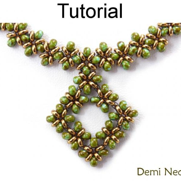 Beading Tutorial Pattern Necklace - Right Angle Weave RAW - Toho Demi Beads - Simple Bead Patterns - Demi Necklace #20045