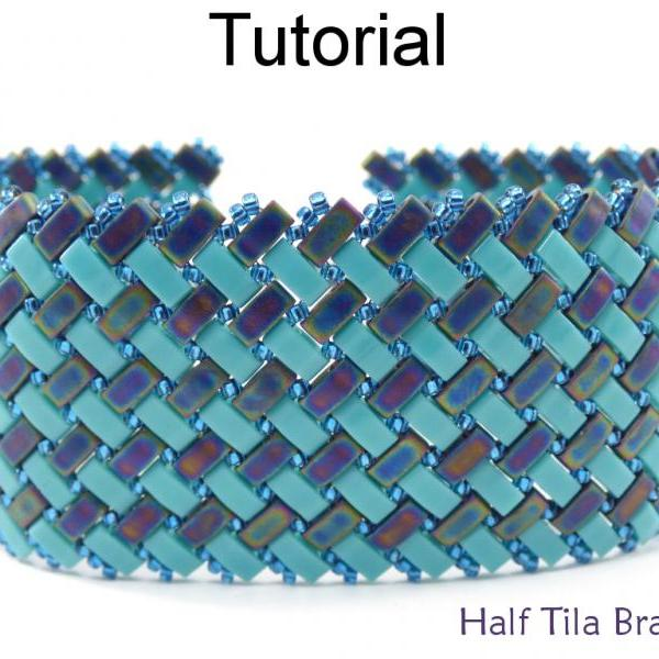 Bracelet Beading Tutorial Pattern - Miyuki Half Tila Beads - Modified Herringbone Stitch - Simple Bead Patterns - Half Tila Bracelet #20047