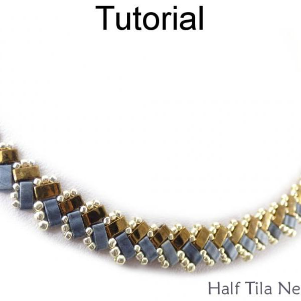 Beading Tutorial Pattern - Necklace - Miyuki Half Tila Beads - Simple Bead Patterns - Half Tila Necklace #20048