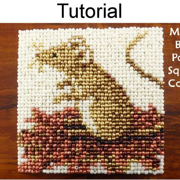 Beading Tutorial Pattern - Beaded Mouse Coaster - Mosaic Beadpoint Home Decor - Simple Bead Patterns - Autumn Mouse Coaster #20182