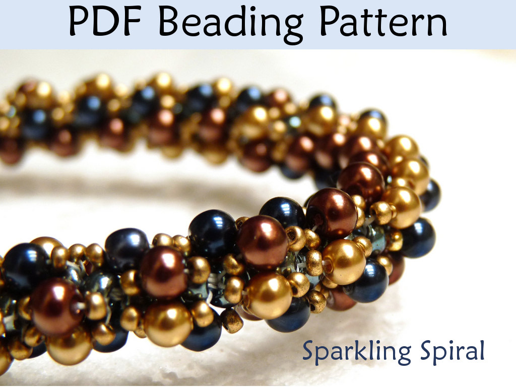 Jewerly Patterns, Beading Tutorial, Double Sprial Stitch, Bead Weaving,  Bead Stitching, Pearls, Crystals, Seed Beads, Pattern, Tutorials #424