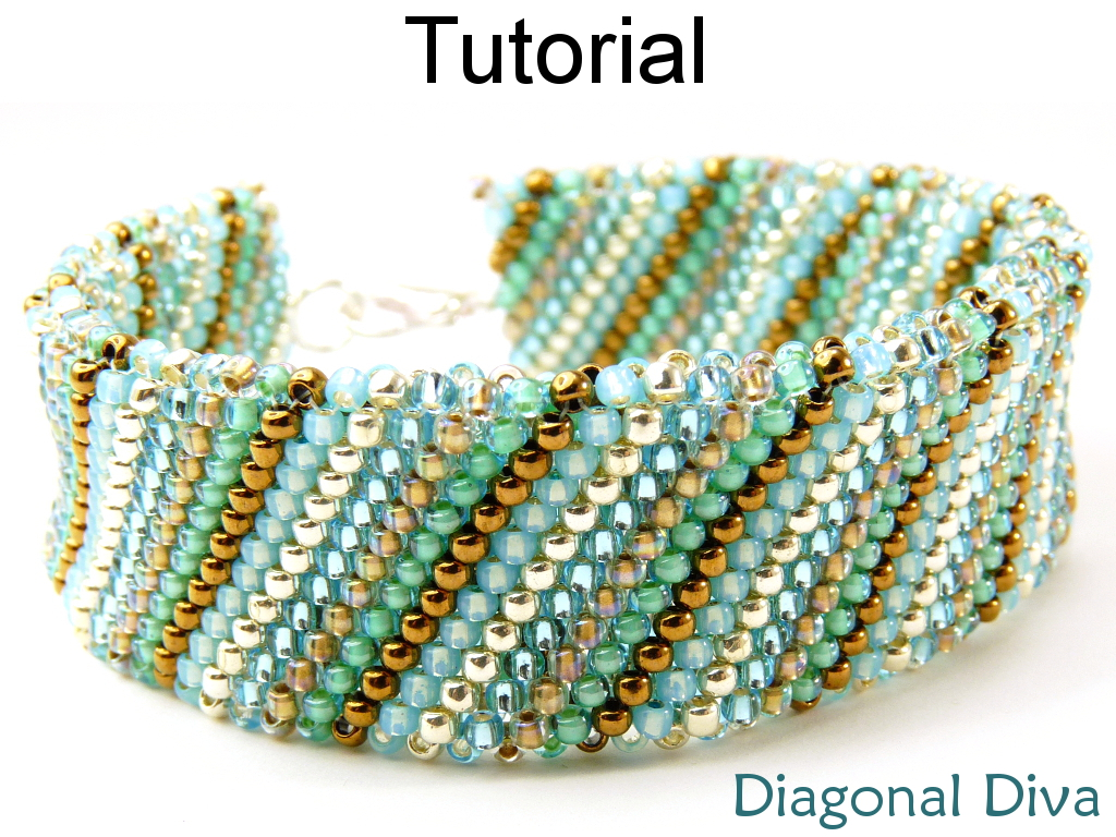Beading Tutorial Bracelet Flat Tubular Peyote Sch Simple Bead Patterns Diagonal Diva 14073